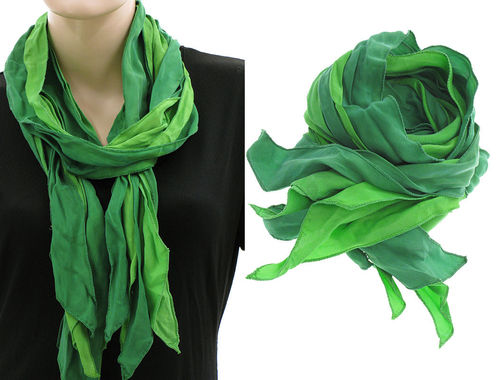 Lagenlook ruffle scarf silk crushed hand dyed in green
