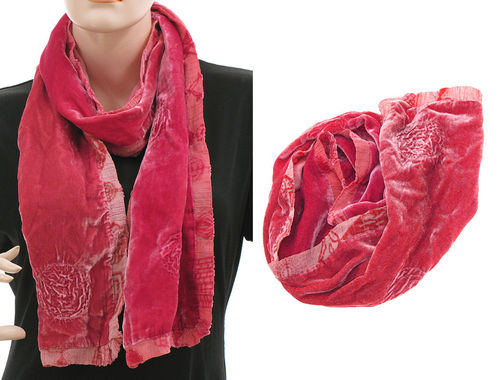 Lagenlook scarf silk velvet hand dyed in red shades