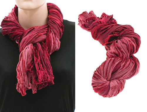 Lagenlook scarf silk crushed velvet hand dyed red shades