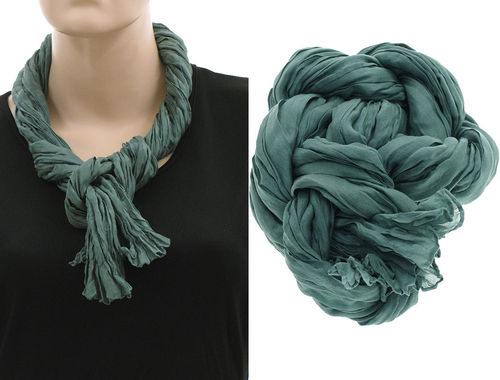 Lagenlook narrow scarf silk crushed hand dyed in muted teal
