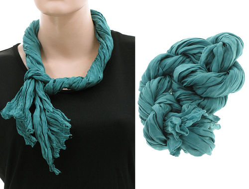 Lagenlook narrow scarf silk crushed hand dyed in teal