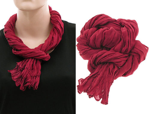 Lagenlook narrow scarf silk crushed hand dyed in red