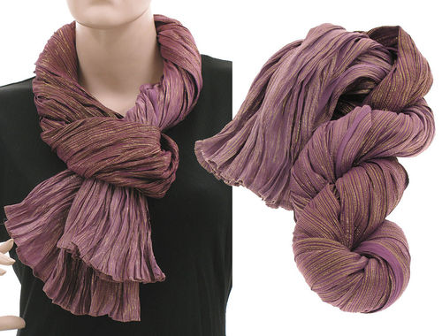 Lagenlook scarf silk gold threads crushed hand dyed in berry