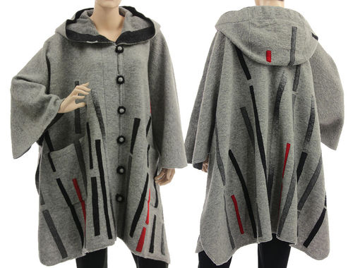 Boho artsy hooded cape poncho with stripes, boiled wool grey S-XXL