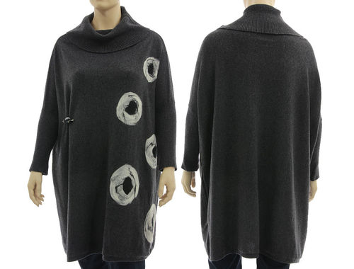 Oversized lagenlook knit cowl sweater, felt circles, anthracite L-XXL