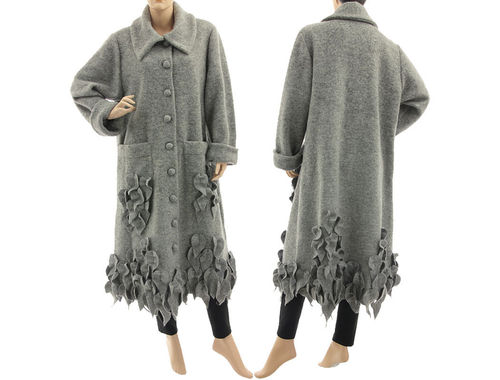 Lagenlook artsy long coat with leaves, boiled wool light grey M-XL