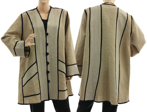 Lagenlook artsy long flared jacket, linen in nature L-XL