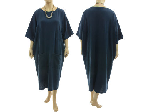 Lagenlook long oversized dress 3 pockets, linen in dark blue XL-XXXL