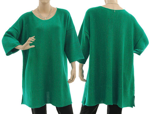 Lagenlook sweater Cloe, merino in emerald with glitter thread L-XL