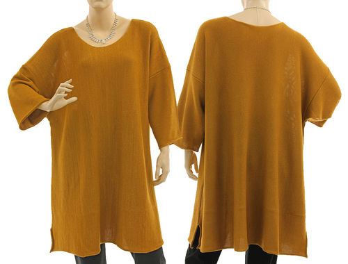 Lagenlook sweater Cloe, merino in light brown with gold thread L-XL