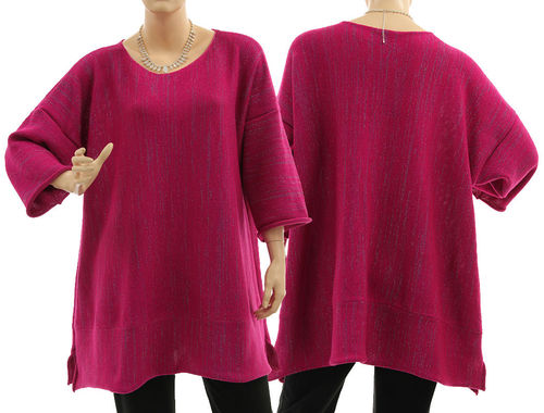 Lagenlook sweater Cloe, merino in magenta with glitter thread L-XL