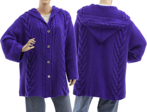 Hand knitted hooded cabled cardi Vanessa in blue L-XL
