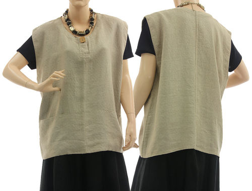 Lagenlook tunic top with pockets, linen in nature M-L