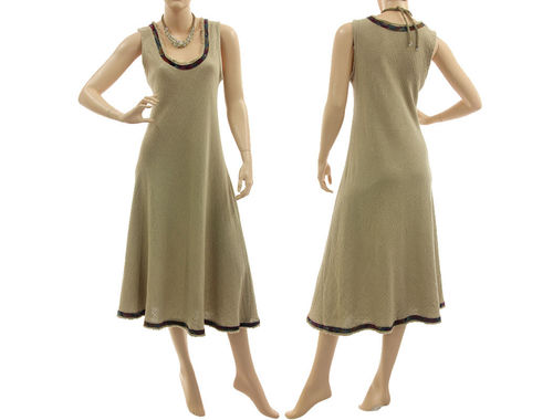 Flared pinafore tank dress with silk ribbon, linen in natural S-M