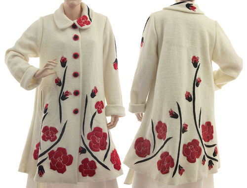 Wedding bridal coat with red roses, boiled wool in off-white S-L