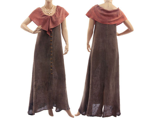 Boho maxi linen dress with flounce collar, in brown S