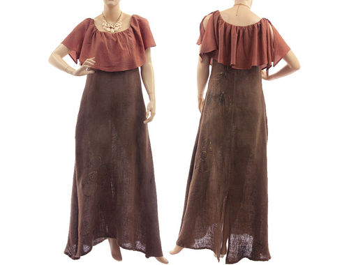 Boho maxi linen dress with carmen collar, in brown S