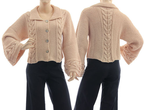 Cabled short sweater cardi Dana hand knitted in powder S-M
