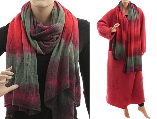 Cozy knit wool shawl wrap cape scarf in coral-red grey S-XXL