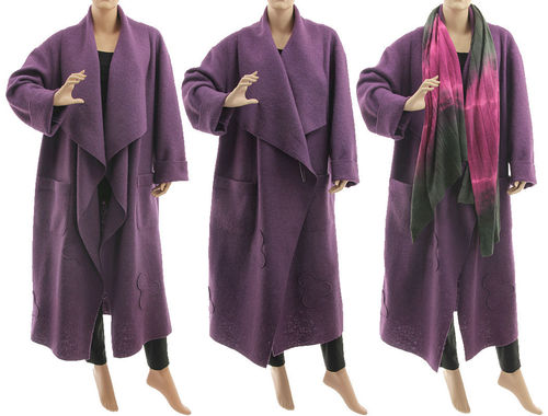 Maxi wrap coat waterfall collar, boiled felted wool in purple L-XL