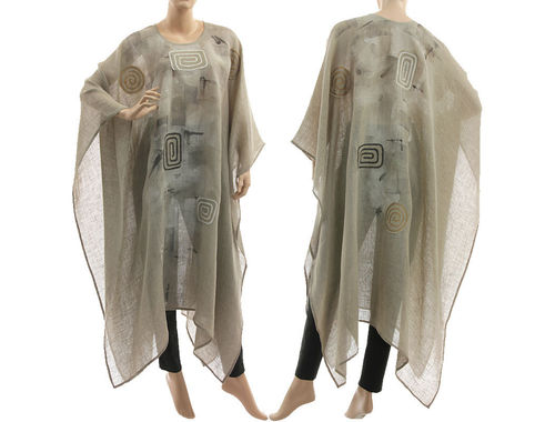 Artsy boho hand painted linen gauze poncho cover caftan in natural S-XXL