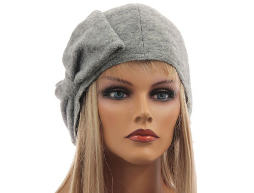Boho lagenlook hat cap with bow boiled wool in light grey M-XL