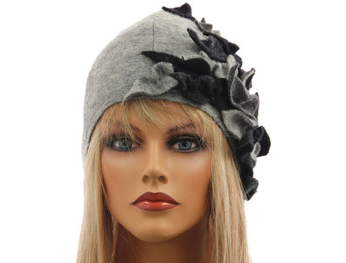 Boho lagenlook hat cap with leaves boiled wool in light and dark grey M-L