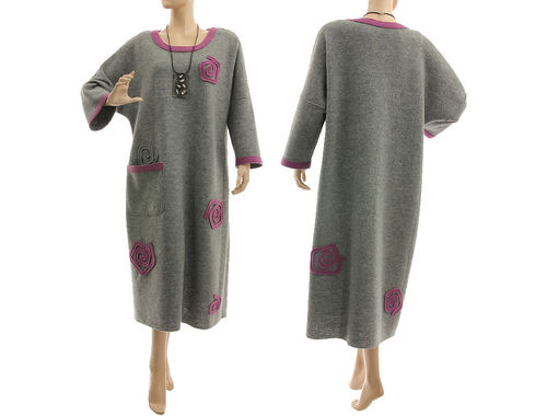 Lagenlook cozy winter dress boiled felted wool in grey purple L-XL