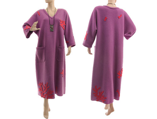 Lagenlook cozy winter dress boiled felted wool in purple with coral L-XL