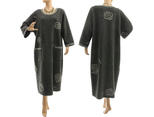 Lagenlook cozy winter dress boiled felted wool in dark grey L-XL