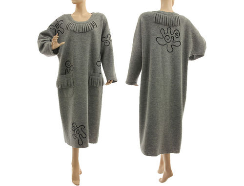Lagenlook cozy winter dress boiled felted wool in grey with sequins L-XL
