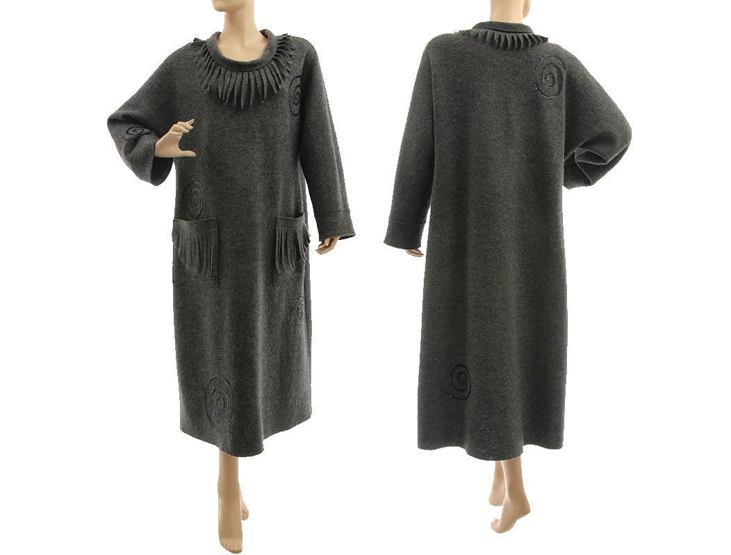 lagenlook cozy winter dress boiled felted wool in dark grey with sequins  m-xl