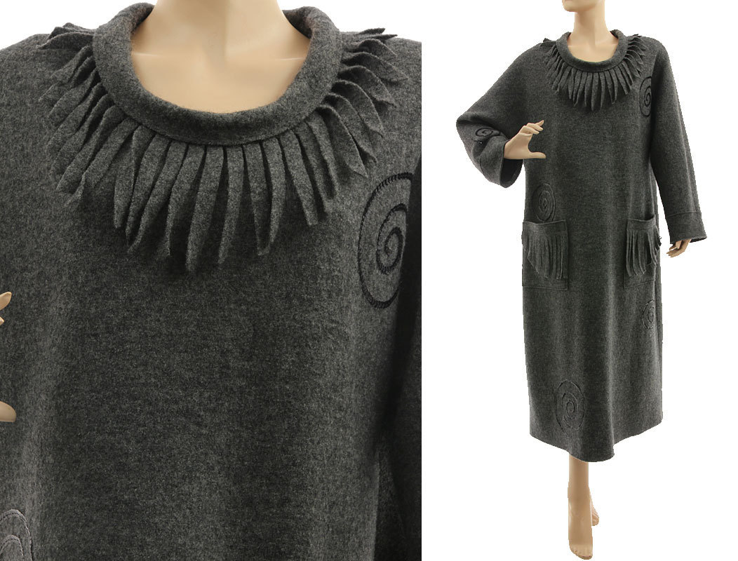 lagenlook winter dress boiled wool in dark grey m-xl
