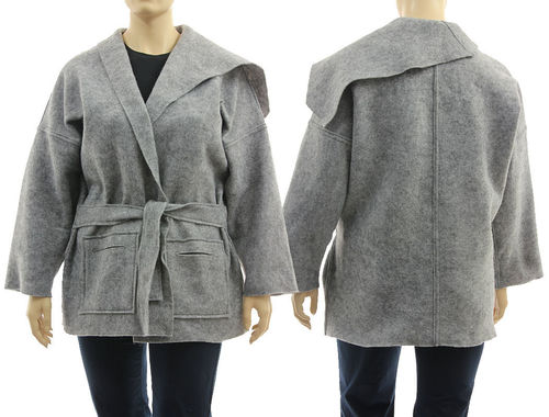 Lagenlook wrap jacket with large collar, boiled felted wool in grey L-XXL