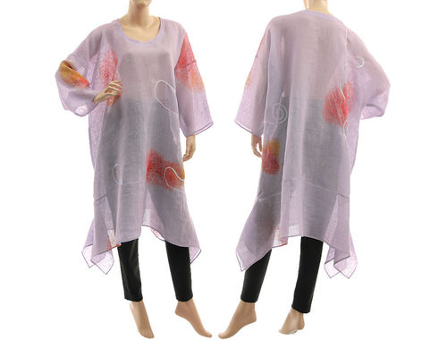 Artsy boho hand painted linen gauze tunic caftan in lavender L-XXL