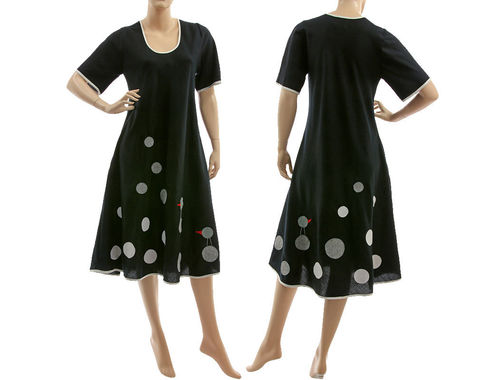 Boho spring summer linen dress, side entry pockets, in black S-M