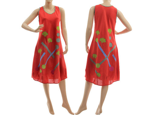 Boho balloon summer linen dress, pinafore tank dress, in red S