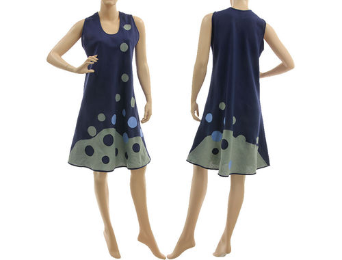 Boho linen summer dress, pinafore tank dress in navy blue M