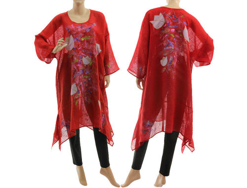 Artsy boho hand painted red linen gauze tunic caftan with flowers L-XXL