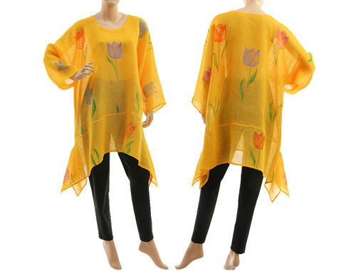 Artsy boho hand painted yellow linen gauze tunic with tulips M-XL