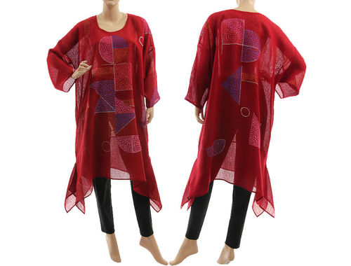 Artsy boho hand painted linen gauze tunic caftan in burgundy L-XXL