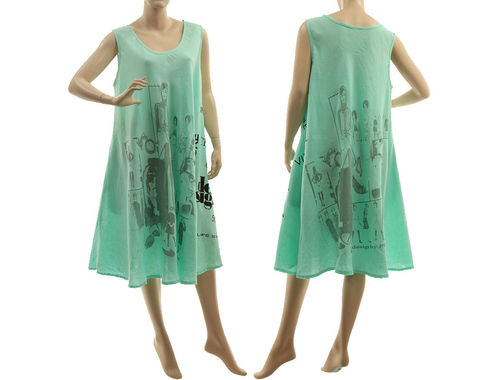 Linen pinafore tank summer dress with print, in mint L-XL