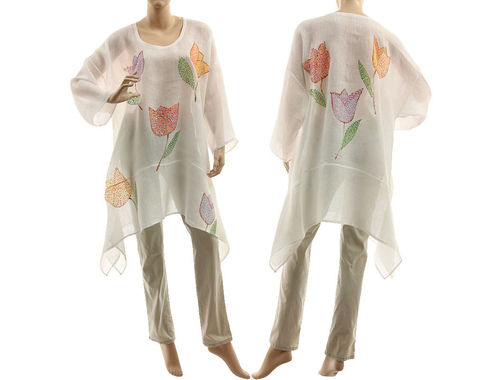 Artsy boho hand painted white linen gauze tunic with flowers M-XL