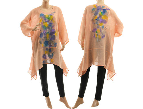 Boho hand painted tunic linen gauze in apricot M-XL