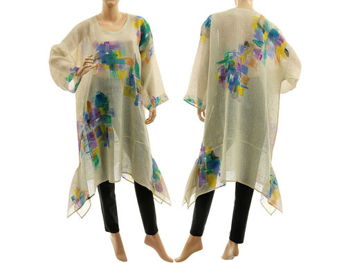 Boho hand painted tunic linen gauze in cream M-XL
