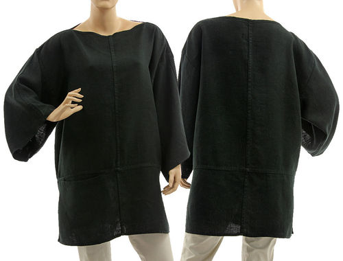 Lagenlook linen tunic top with pocket in black S-L