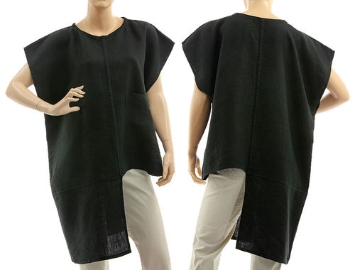 Boho asymmetrical linen tunic top with pocket in black S-M