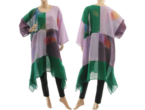 Boho hand painted tunic linen gauze chequerboard in green purple L-XXL