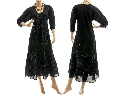 Boho long linen dress with flowers, in black M