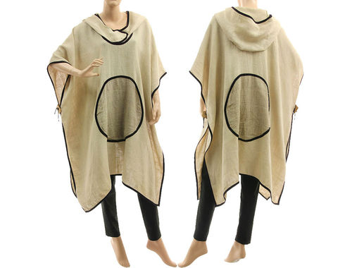 Boho lagenlook hooded linen poncho cover in natural, pale beige S-XXL